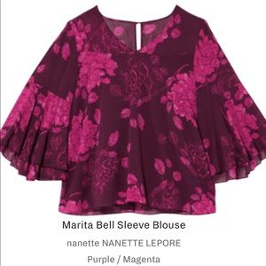 Nanette Belle Sleeve Floral Peasant Top 1X NWT